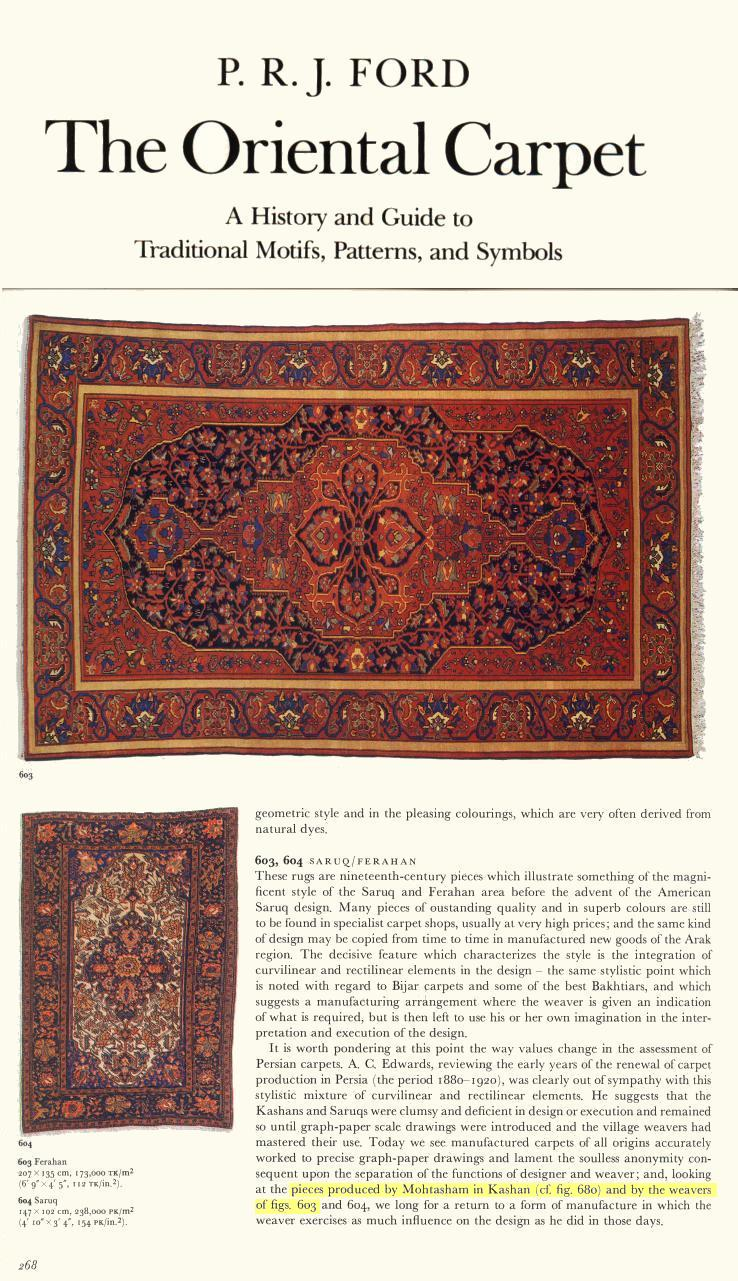 This is a screen shot of P.R.J. Ford's The Oriental Carpet - p. 268 which features an antique Ferahan Sarouk almost identical to ours.